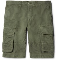 Incotex Textured Cotton And Linen Blend Cargo Shorts Army Green