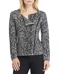 Kenneth Cole Cindy Metallic Asymmetrical Zip Sweater Grey Melange
