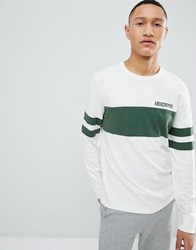 Abercrombie And Fitch Varsity Chest Stripe Lightweight Sweatshirt In White