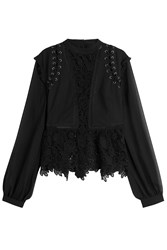 Self Portrait Laced Top With Lace Crochet Black