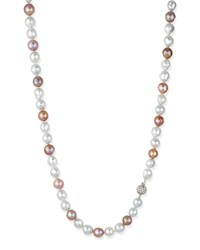 Pink And White Opera Pearl Necklace With Diamond Clasp Belpearl