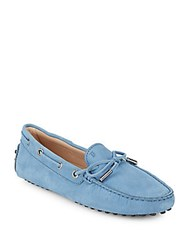 Tod's Bow Accented Boat Shoes Blue