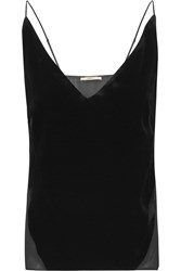 J Brand Lucy Paneled Chiffon And Velvet Camisole Black