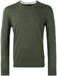 Joseph Suede Patch Knitted Jumper Green