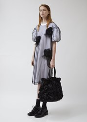 Simone Rocha Satin Flower Smocking Tote Bag Black