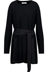Sandro Coline Belted Wool And Cashmere Blend Sweater Black