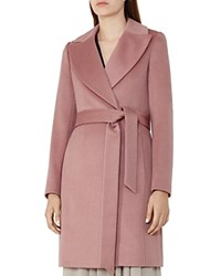 Reiss Forbes Belted Wool Coat Rose Pink