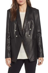Lamarque Semi Fitted Leather Blazer Black