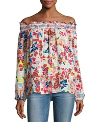Tanya Taylor Designs Nessa Floral Burst Off The Shoulder Top White Multicolor White Pattern