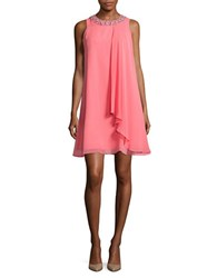 Vince Camuto Beaded Trapeze Dress Guava