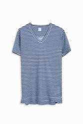 120 Lino Men S Striped V Neck T Shirt Boutique1 Blue