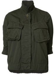 Sacai Cropped Military Jacket Green