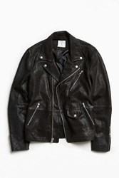 Urban Outfitters Uo Beatdown Leather Moto Jacket Black