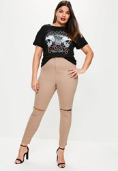 Missguided Plus Size Camel High Waisted Slash Knee Skinny Jeans