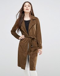 Only Faux Suede Long Coat Kangaroo Brown