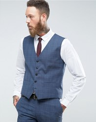Selected Homme Skinny Wedding Waistcoat In Blue Check Blue Nights