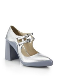 Prada Metallic Leather Rubber Dipped Mary Jane Pumps Blue Silver