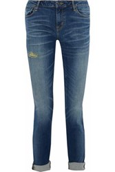 Marc By Marc Jacobs Distressed Faded High Rise Slim Leg Jeans Blue