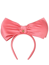 Federica Moretti Ada Silk Satin Headband With Large Bow Pink