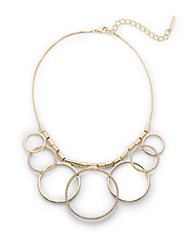 Saks Fifth Avenue Pave Circle Statement Necklace Gold