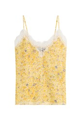 The Kooples Silk Camisole With Lace Yellow