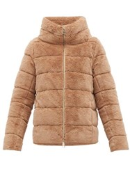 Herno Quilted Down Faux Fur Jacket Beige