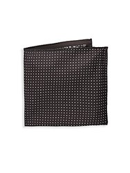 Saks Fifth Avenue Made In Italy Dotted Silk Pocket Square Black
