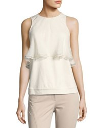 Brunello Cucinelli Silk Organza Ruffled Sleeveless Top Cream