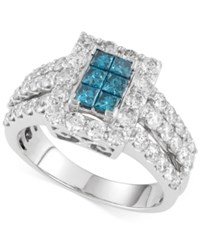Macy's Blue And White Diamond Ring 2 Ct. T.W. In 14K White Gold