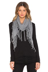 Autumn Cashmere Fringed Triangle Scarf Gray