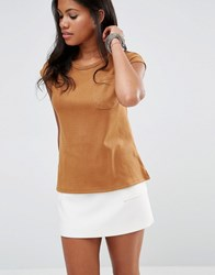 Glamorous Suede T Shirt With Pocket Detail Tan