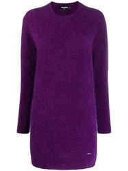 Dsquared2 Knitted Tunic Jumper Purple