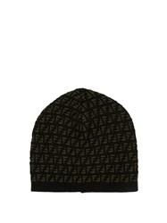 Fendi Intarsia Knit Hat Black