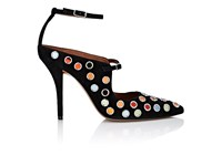 Givenchy Women's Embellished Suede Double Strap Pumps Black