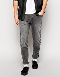 Hoxton Denim Slim Fit Jeans In Light Gray Grey