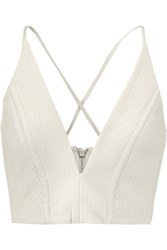 Mason By Michelle Mason Cropped Quilted Leather And Crepe Top Ivory