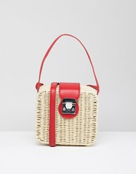 Stradivarius Square Straw Bag Cream