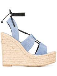 Saint Laurent 'Espadrille 95' Lace Up Sandals Blue