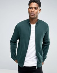 New Look Track Jacket In Dark Green Dark Green
