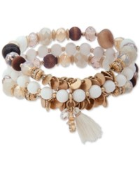 Lonna And Lilly Gold Tone 3 Pc. Set Bead Tassel Stretch Bracelets Natural