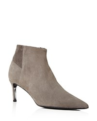 Delman Pointed Toe Mid Heel Booties Charcoal