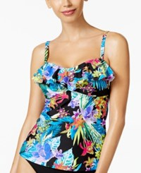 Island Escape Montage Gardens Tankini Top Women's Swimsuit Multi Floral