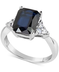 Macy's Sapphire 3 1 5 Ct. T.W. And Diamond 1 4 Ct. T.W. Ring In 14K White Gold Blue