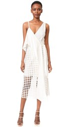 Diane Von Furstenberg Asymmetrical Twig Lace Wrap Dress Ivory Ivory