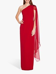Adrianna Papell One Shoulder Cape Sleeve Gown Cardinal