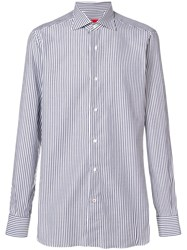 Isaia Striped Classic Shirt Blue
