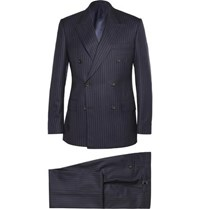 Kingsman Navy Double Breasted Pinstripe Suit Navy