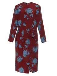 Rochas Dahlia Print Long Sleeved Silk Crepe Dress Burgundy Multi