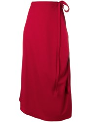 Y Project High Waisted Wrap Around Skirt Red