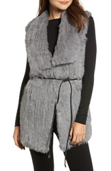 Love Token Longline Genuine Rabbit Fur Vest Grey